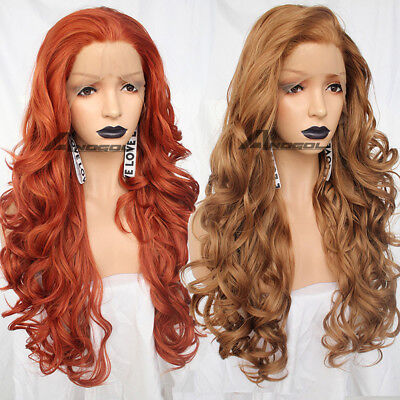 Synthetic Lace Front Wig Golden Blonde Red Natural Wavy Long Wave Wigs for Women