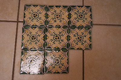 7 Vintage Antique  Mexican Hand Painted Glazed  Talavera Pottery Tiles 4''x 4