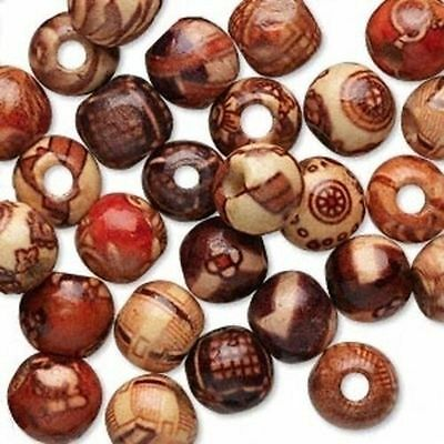 100pcs Mixed Natural Wood Round Charm Spacer Beads Bracelet Necklace Jewelry DIY