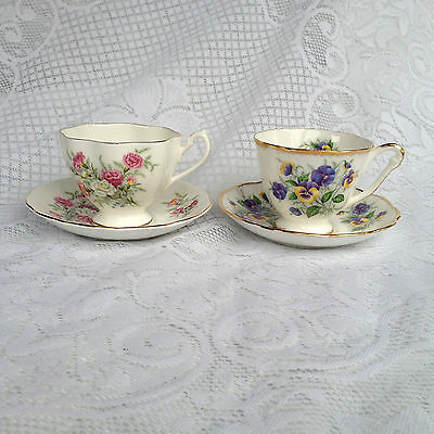 2 Queen Anne 'Country Gardens'  Pansy & Crysanthemums  Tea Cup & Saucers (958)