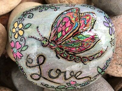 """Dragonfly and Flowers Calligraphy """"Love"""" Original Hand Painted Rock,Stone,Large"""