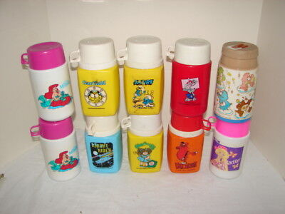 Vintage Lunch Box Thermos Lot 10 Thermos Fat Albert Garfield Smurf Barbie & More