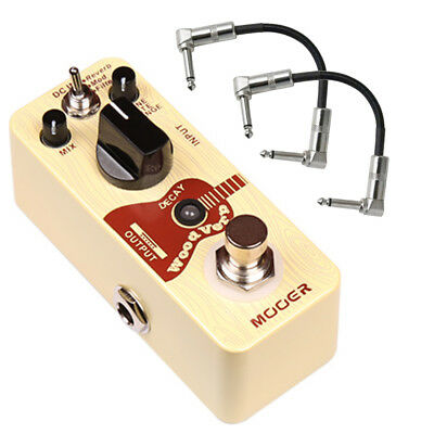 Mooer Wood Verb Acoustic Reverb Guitar Effects Pedal with Patch Cables