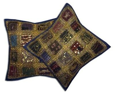 """16""""-2 Navy Boho Indian Bead Sari Handcrafted Vintage Throw Cushion Pillow Covers"""