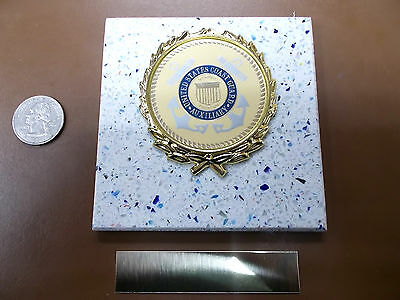 COAST GUARD AUXILIARY New Plaque Tile AWARD-GIFT w/Gold Wreath +Insert FAST SHIP