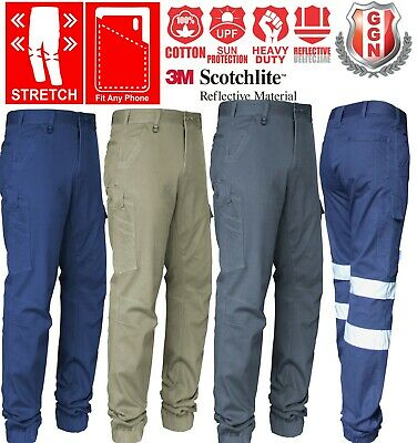 1 3 pack Cargo Pants Elastic or Classic Cuff, Stretch Cotton Drill 3M Tape