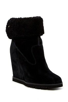6df9f46398e NEW! UGG AUSTRALIA KYRA Shearling Leather Cuffed Wedge Boots Booties ...
