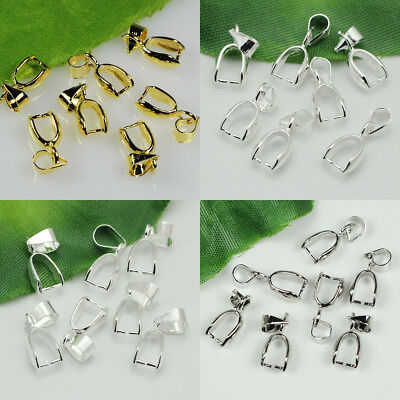 20/50/100pcs Pendant Pinch Bails Silver/Dull Silver/Gold Plated 14mm/16mm/20mm