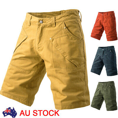 AU Mens Chino Cargo Shorts Cotton Summer Casual Work Combat Half Pants Trousers