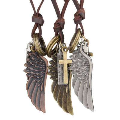 Creative Angel Wing Leather Long Chain Necklace For Men Womens Lady Decoration