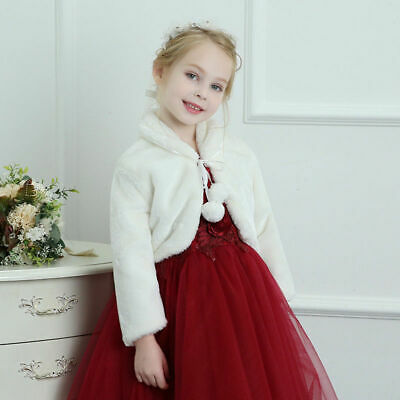 UK Kids Girls Wedding Bridal Fur Bolero Shrug Cloak Cape Cardigan Shawl Snowsuit