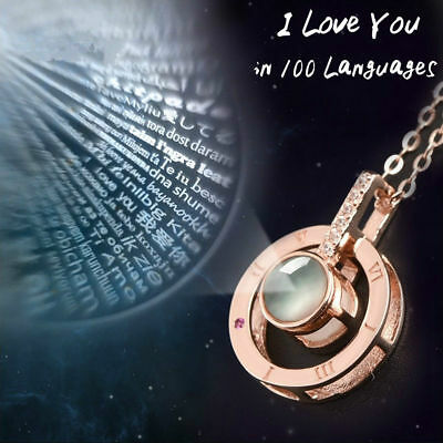 Rose Gold 100 Languages Light I Love You Projection Pendant Necklace Xmas Gift