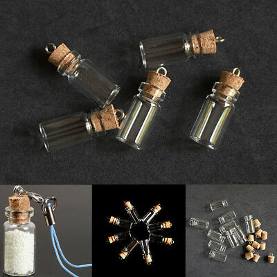 10pcs Empty Mini Glass Bottle Charm Vial Perfume Wish Necklace Pendant Jewelry