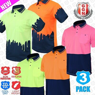 3x HI VIS POLO SHIRTS 2 TONE COOL DRY Short Sleeve Collection AS/NZS 1906 4602