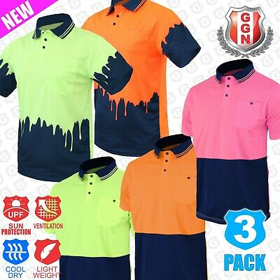 3x HI VIS POLO SHIRTS TRADITIONAL 2 TONE COOL DRY SHORT SLEEVE AS/NZS 1906 4602