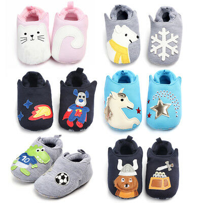 Cartoon Newborn Baby Girls Boys Anti-Slip Socks Slipper Shoes Boots Soft Animal