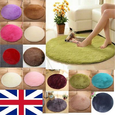 Round Fluffy Shaggy Rugs Anti-Skid Area Dining Room Carpet Floor Home Room Mat