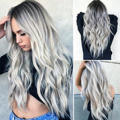 28'' Women Synthetic Long Wavy Wigs White Black Gray Ombre Cosplay Hair Wig