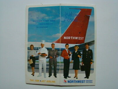 """594ms Northwest Orient Compagnie Aeree """" Welcome Aboard """" Souvenir Libro & Mappe"""