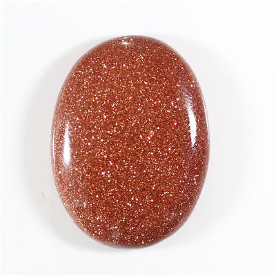 28.50 Cts Glossy Brown Goldstone Oval Cabochon Gemstone Loose Free Shipping
