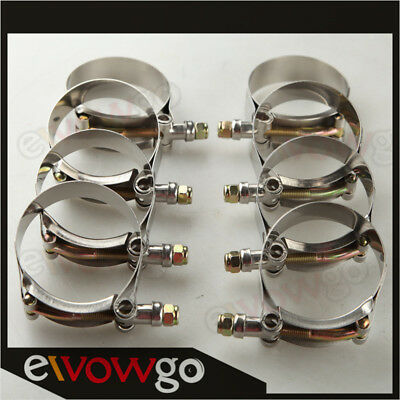 """2x2/"""" Inch Turbo Pipe Hose Coupler Dual T-bolt Clamps Stainless Steel 54 To 62mm"""