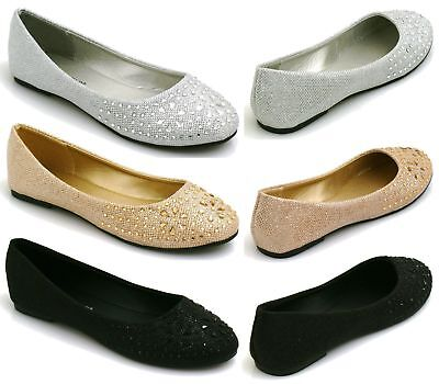 LADIES & KIDS FLAT PUMPS GLITTER BALLET BALLERINA DOLLY BRIDAL SHOES clearance
