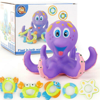 Baby Octopus Infant Toddlers Kids Learn Play Fun Ring Toys Floating Bath Toys