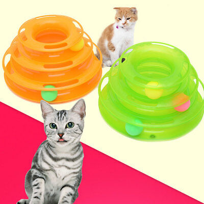 Kitten Pet Cat Interactive Crazy Ball Disk Amusement Game Trilaminar Toy Tower
