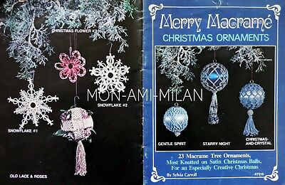 Merry Macrame Vintage Pattern Booklet Christmas Tree Ornaments Baubles 23 Styles