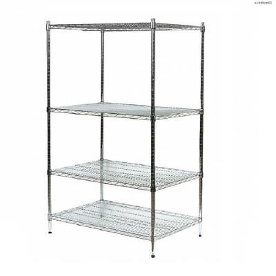 """Laywell Storage Wire Shelving Unit 48""""W x 14""""D x 63""""H 4 Shelves Chromed Silver"""