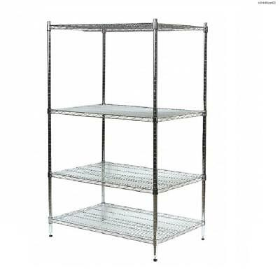 """Laywell Storage Wire Shelving Unit 48""""W x 24""""D x 63""""H 4 Shelves Chromed Silver"""