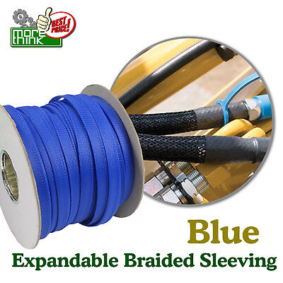Blue 1/8'' All Length Braided Braid Expandable Sleeve Wire Harness Loom Lot