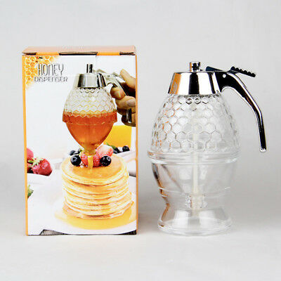 Hot Glass Honey and Syrup Dispenser 5.75in/14.5cm 1 New With Stand