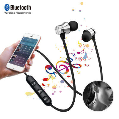 Magnetic Bluetooth Sports In-Ear Wireless Earphones Headphones Headsets w/ Mic