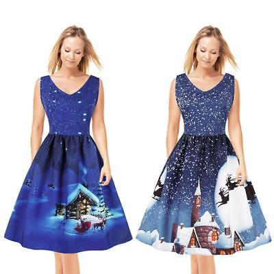 Womens  A-line Dress Christmas Xmas Santa Claus Evening Party Gown Plus Size NEW