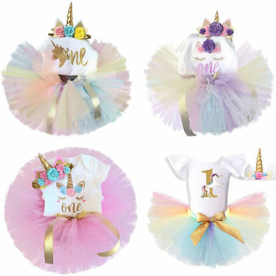 Baby Girl First 1st Birthday Unicorn Party Dress Outfits Bow Tutu Skirt Headband