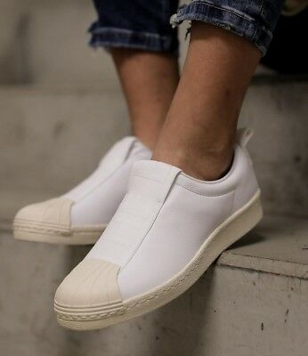 853fdb6a97 RRP £79.95 adidas Originals LEATHER Superstar BW Slip-On Shoes White sz6  SALE