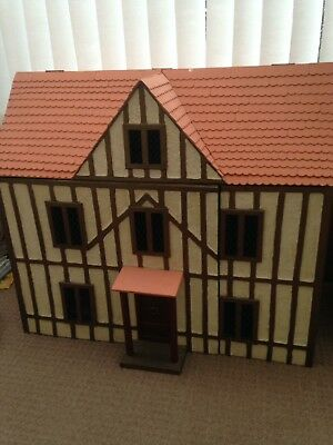 Handmade Wooden girls children Kids Doll House With Staircase and carpet
