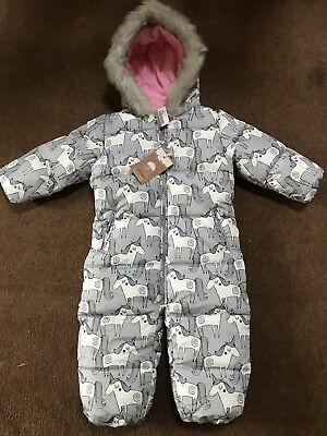 09f9be813 NEW BABY GIRLS Snowsuit Winter Unicorn 🦄 Next Age 12-18 Months ...