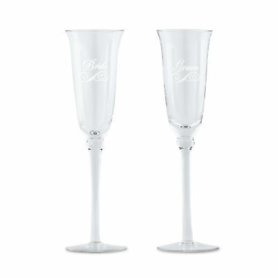 Champagne Flutes Classic Wedding Glasses Bride and Groom Engraved