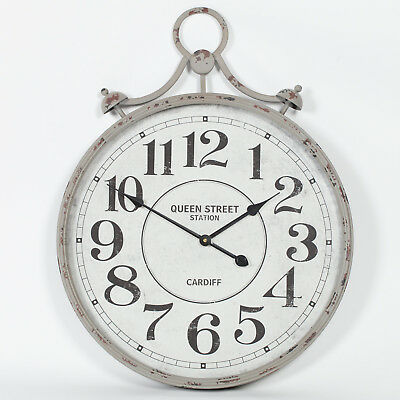 Aged Grey Pocket Watch Vintage Metal Wall Clock with Glass Front