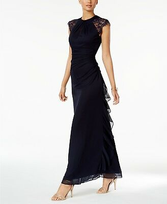 $339 Betsy & Adam Womens Blue Ruched Lace Trim A-Line Evening Dress Gown Size 10