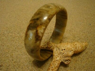 Vintage Bakelite Bracelet! Gorgeous Brown/Butterscotch/Cream Marbled Colors!