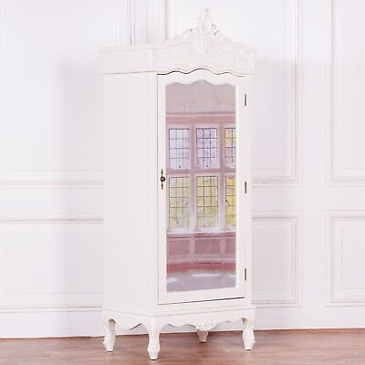 French Style Cream Chateau Single Armoire Full Mirror Door Shabby Chic Wardrobe