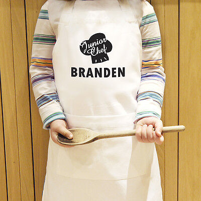 Personalised Junior Chef Kids Apron Polycotton Cooking Kitchen Baking Aprons