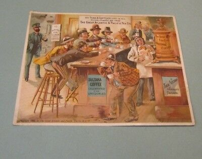 1885 Great Atlantic & Pacific Tea Co. Sultana Coffee Large Victorian Trade Card