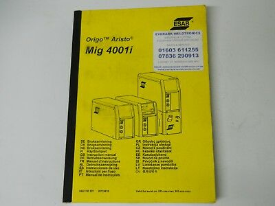 ESAB Aristo origo MIG 4001i manual paper back