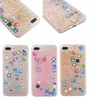 Icon Dynamic Liquid Glitter Quicksand Phone Case Cover For iPhone 6 7 8 X Plus
