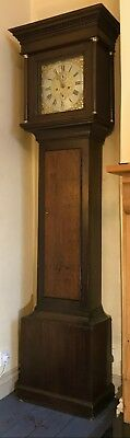Antique Brass 8 Day Oak  Longcase Grandfather Clock
