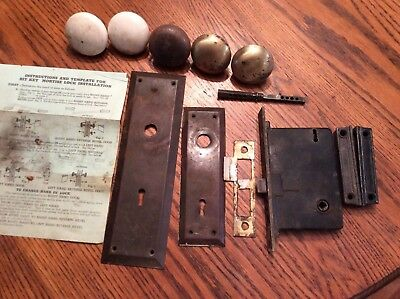 VTG Brass Door Lock Set Mortise Back Plates Knobs Reading RH co w/ Key Nouveau